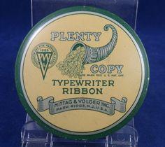 Vintage Typewriter Ribbon TIN BOX Plenty Copy