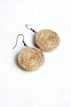 Hemp earrings organic jewelry, unique earrings rustic jewelry hippie earrings - - Hemp earrings organic jewelry, unique earrings rustic jewelry hippie earrings let's ACCESSORIZE! Diy Jewelry Rings, Diy Jewelry Unique, Diy Jewelry To Sell, Hemp Jewelry, Rustic Jewelry, Fabric Jewelry, Boho Jewelry, Jewelry Accessories, Handmade Jewelry