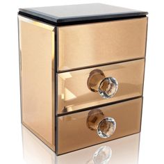 Ikee Design®Glamorous Mirrored Rose Gold Jewelry Box