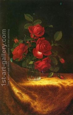 Martin Johnson Heade:Four Roses In A Glass