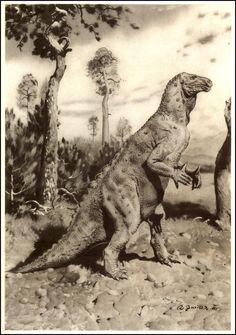 Iguanodon | Zdeněk Burian (1905-1981) | Prehistoric Animals (1960)