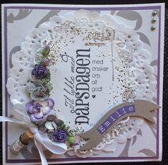 Dåpskort i sølv og lilla