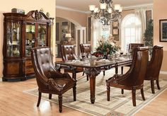 Acme Furniture Winfred Collection 7 PC Dining Room Set with Dining Table and 6 Side Chairs in Cherry Finish Double Pedestal Dining Table, Rectangle Dining Table, Dining Table Legs, Dining Table In Kitchen, Extendable Dining Table, Dining Room Sets, Dining Chairs, Wood Table, Thomasville Furniture