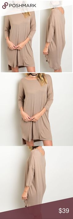 """Light Mocha Jersey Knit Tunic Dress Jersey knit dress with strap along neckline. Made of Rayon/ spandex blend. Can be worn as a tunic too! Striped  Measurements for small Length : 34"""" Bust: 40"""". Bchic Dresses"""