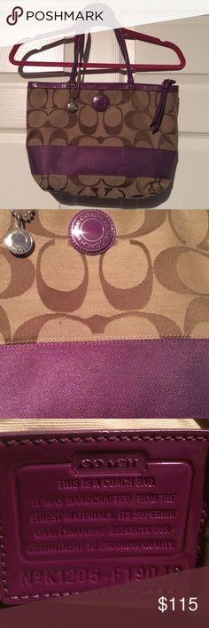 Coach Signature Stripe Purple/Brown Tote 🎄🎁🎅🏼🛍 Like-New Coach Signature Stripe Purple/Brown Tote 👛 Coach Bags Totes