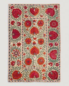 Bukhara suzani, Uzbekistan, 19th century. Cotton, silk and wool, chain stitch embroidery, 123 x 192 cm.