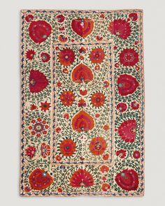 Bukhara suzani, Uzbekistan, 19th century. Cotton, silk and wool, chain stitch embroidery, 123 x 192 cm.