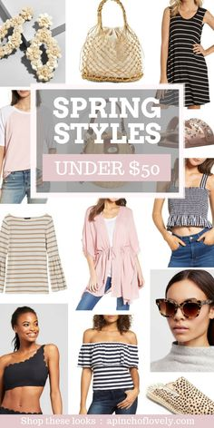 From spring's staple stripes to vacay vibe bags and shoes, these are my favorite budget-friendly wardrobe finds under $50 this month!