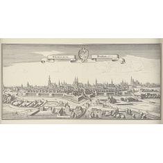 Breslau, Schlesiens, Stadtmauer, Türme, Wassergraben, Dom, Polen, Kupferstich, Fototapete Merian