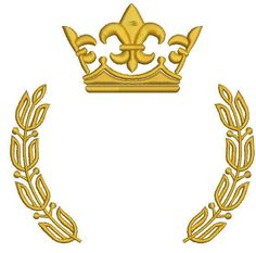 gold crown with fleur de lis and a laurel wreath with stylized leaves Machine embroidery design, tested – Laurel Wreath İdeas. Freehand Machine Embroidery, Machine Embroidery Designs, Cat Machines, Crown Crafts, King Design, Crown Logo, Wings Logo, King Art, Laurel Wreath