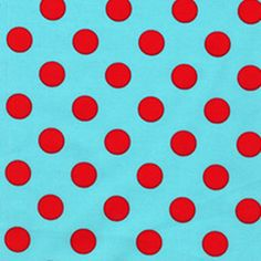 Aqua and Red Polka Dots