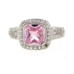 Pre-owned Micro Pave Pink Crystal Cushion Stone Ring ($235) ❤ liked on Polyvore featuring jewelry, rings, pink crystal jewelry, crystal stone rings, pink crystal ring, judith ripka rings and pre owned jewelry