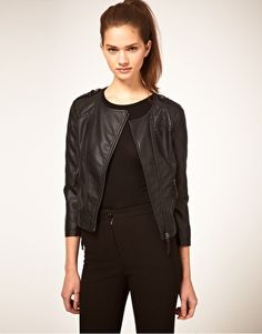 Enlarge ASOS Leather Look Collarless Quilted Biker Jacket