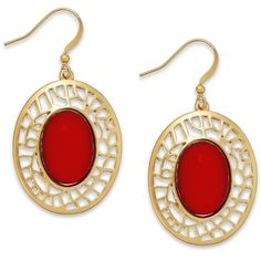 Style&co. Gold-Tone Red Stone Filigree Drop Earrings (€10) found on Polyvore featuring jewelry, earrings, red, cabochon jewelry, style & co earrings, drop earrings, stone jewellery and stone earrings