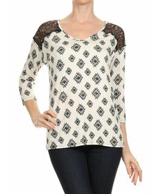 Loving this Le Lis Collection Ivory & Black Tribal Scoop Neck Top on #zulily! #zulilyfinds