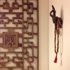 mudra buddha hand, mala prayer beads, chinese screen, bathroom - apartmentf15 photo
