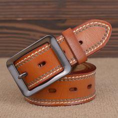 Cowhide Genuine Leather Belts for men brand Strap male pin buckle fancy vintage jeans cinto freeshipping Custom Leather Belts, Wide Leather Belt, Vintage Leather, Leather Wallet, Vintage Jeans, Moda Vintage, Handmade Leather, Casual Belt, Fashion Belts