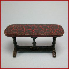 Tootsie Toy Doll House Miniature Console Table – Red/Black Crackle 1930s ...  rubylane.com