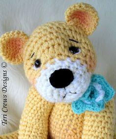 My Favorite Teddy Bear Crochet Pattern Big and by WoolandWhims