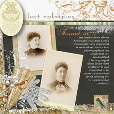 Lost Relatives...Beautiful embellishments using pearls, lace, crocheted glove and fan. Love the angled photos and combination of soft sepia tones highlighted by the black background. Again, remember to ID your photos so your relatives are not lost.