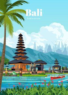 Travel Illustration, Landscape Illustration, Poster Retro, Poster City, Indonesian Art, Bali Travel, Travel Bag, Environmental Art, Vintage Travel Posters