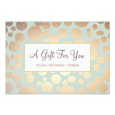 Salon and Spa Faux Gold Leaf Look Gift Certificate 3.5x5 Paper Invitation Card