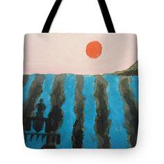 "Color Field Harvest - Turquiose Tote Bag 18"" x 18"""