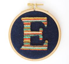 "Embroidery Hoop Art Custom Made ""E"" Letter On Felt on Etsy, $42.00"