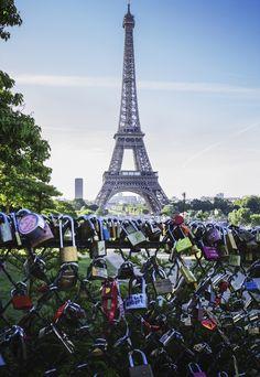 Locks in front of the Eiffel Tower  Paris, France Paris France, Locks, Travel Photography, Tower, London, Building, Rook, Big Ben London, Lathe