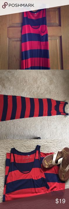 Kensie Blue and Red Maxi Dress -medium kensie brand blue and red stripe tank style maxi dress. Slim cut - it's a medium but probably fits more like a small. Adorable style and very comfy! In excellent condition. Non-smoking and pet free home. Thanks for shopping! Kensie Dresses Maxi