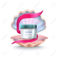 Brand face cream placed inside of shell with pink ribbon in it, close up of icons represented on vector illustration isolated on white Illustration , Presentation Design Template, Shell, Ribbon, Icons, Templates, Cream, Face, Illustration, Pink