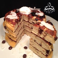 Fluffy moist coconut flour pancakes with carob chip! Clean and delicious!