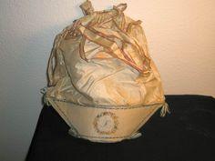 ladies silk work bag with hand-painted floral design - ca. 1790