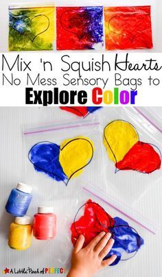 Mix 'n Squish Hearts: Valentine's Day Sensory Bags to Explore Color (Preschool, Toddler, Kindergarten) (Mix Colors Preschool) Quotes Valentines Day, Valentines Day Activities, Valentines Day Crafts For Preschoolers, Preschool Colors, Preschool Activities, Mouse Paint Activities, Indoor Activities, Summer Activities, Family Activities