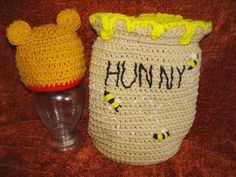 Crochet Pattern for Hunny pot and bear hat by DarleneMoon on Etsy