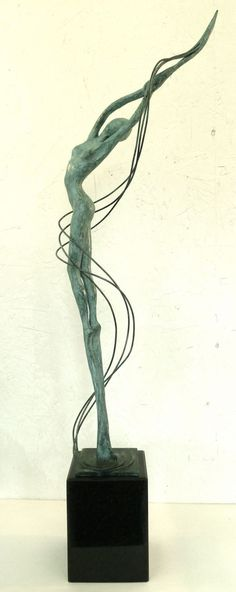 BRONZE Spiral Twisted sculpture / statue / carving sculpture by sculptor Gill Brown titled: 'WHISPER (Delicate bronze Thin abstract Nymph Girl Dryad statue figurine)'