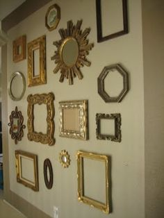 I love any kind of wall art with interesting repetitive pieces---frames, clocks, maps, plates, etc. Living Room Decor, Bedroom Decor, Wall Decor, Wall Art, Mirror Gallery Wall, Gallery Walls, Mirror Art, Wall Clock With Pictures, Frames On Wall