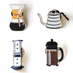 The Mayven Coffee Lapel Pins... there really are enamel pins for EVERYTHING these days. For coffee aficionados here are chemex, aeropress, french press, and more...