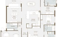 Floor Plan Friday: Kids at the back, parents at the front! Homestead Layout, Large House Plans, Activity Room, Alfresco Area, Study Nook, Concept Home, Multipurpose Room, Ranch Style Homes, Guest Suite