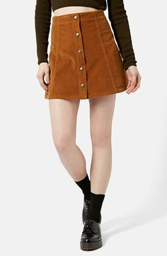 Topshop A-Line Corduroy Skirt available at #Nordstrom