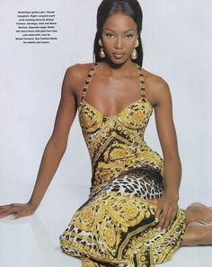 Naomi Campbell 90s Chain and Animal Print