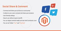 Social Share . SocialShare is one of light weight extension that share you products in social portal like Facebook, Twitter and Google+ which helps you to promote/advertise your products on social media.This extension provides some user friendly features that which you can easily manage this extension from