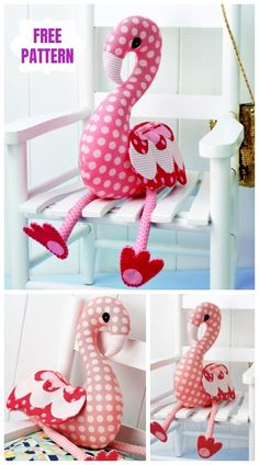 DIY Flossie Flamingo Animal Toy Sew Pattern & Tutorial - Claire C. Sewing Toys, Baby Sewing, Sewing Crafts, Sewing Projects, Free Sewing, Flamingo Toy, Flamingo Pattern, Sewing Stuffed Animals, Stuffed Animal Patterns