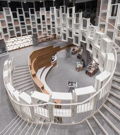 Ningbo Bookstore: A New Lifestyle Destination to Spend Time and Linger in Comfortable, Modern Interior - Architecture Bookstore Design, Library Design, Ningbo, Futuristic Architecture, Interior Architecture, Futuristic Interior, Interior Exterior, Modern Interior, Kindergarten Design