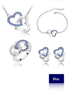 684780f08b90 Double Heart Austrian Crystal Jewelry Set Women Stud  Earrings