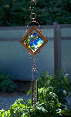 Wind Chime Sea Glass Cedar Copper Brass Windchime Suncatcher by CoastChimes on Etsy