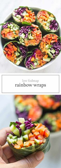 Crunchy, refreshing and full of low FODMAP veggies, these Low FODMAP Rainbow Wraps with Spicy Sunflower Sauce are great for a light lunch or supper. | funwithoutfodmaps.com | #lowfodmap #vegetarian #wraprecipe