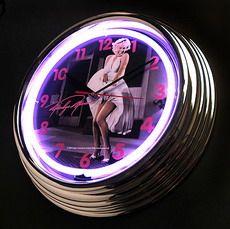 Reloj Pared Neón Luminoso Marilyn Monroe