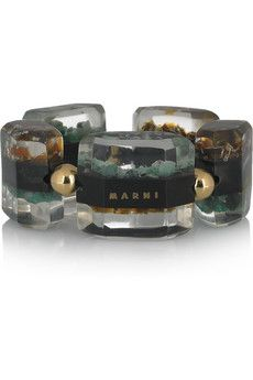MARNI Bracelet (front view) - resin-encased horn, emerald root and citrine quartz