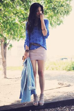 Slouchy top, belted bandage skirt, and wedges... and a blazer.